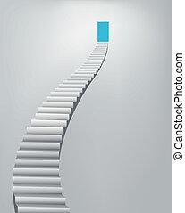escalera, cielo, puerta