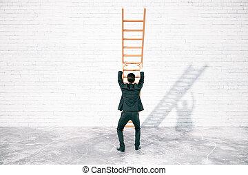 escalera, concepto, obstáculo, superación