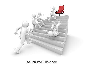 escalera, corriente, éxito