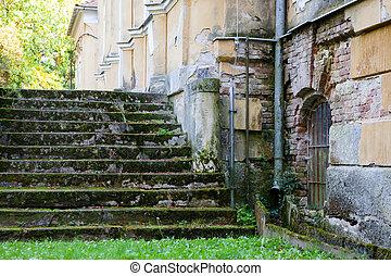 escalera, de, un, mansión
