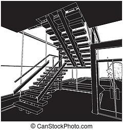escalera, dentro, espacio