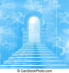 escalera, dios, cielo, primero