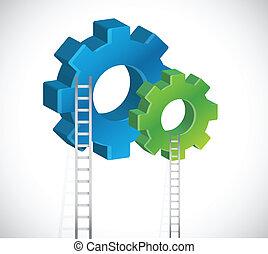 escalera, diseño, engranaje, ilustración