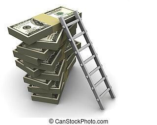 escalera, en, dinero