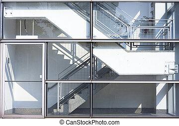escalera, en, el, edificio