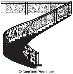 escalera, espiral, cerca