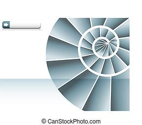 escalera espiral, gráfico