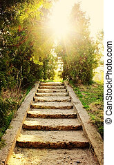 escalera, fe, concepto, belleza, naturaleza, sol, -, religión