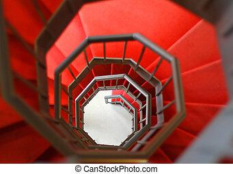 escalera, gidy, espiral, escarpado, alfombra roja