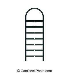 escalera, icono, plano