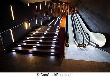 escalera, interior, lujoso, escalera mecánica, moderno, ...