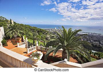 escalera, jardines, mar