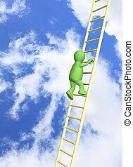 escalera, levantamiento, títere