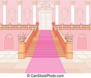 escalera, lujo, palacio