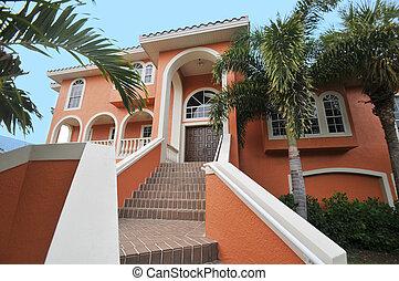 escalera, mansión, elegante