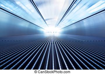 escalera mecánica, éxito, moderno, movimiento, mudanza,...