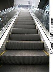 escalera mecánica, en, centro comercial