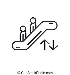 escalera mecánica, señal, aislado, símbolo, vector, plano de fondo, icono, lineal