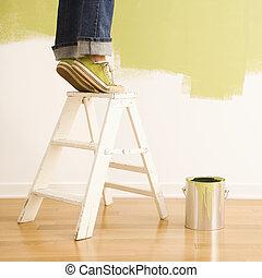 escalera, mujer, painting.