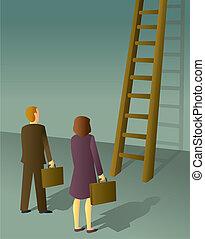 escalera, negocio corporativo, gente
