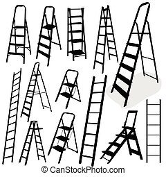 escalera, negro, vector, ilustración