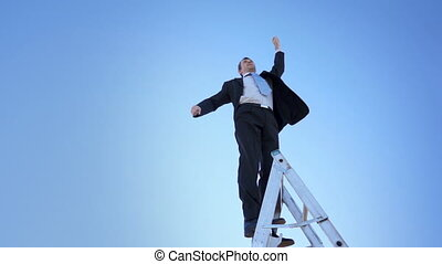 escalera, orgulloso, ganador, hombre de negocios