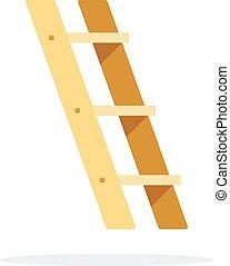 escalera, plano, vector, vista, aislado, lado