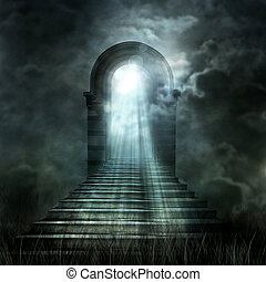 escalera, primero, a, cielo, o, hell., luz, al fin, el,...