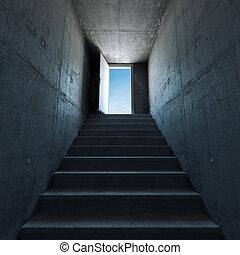 escalera, primero, arriba
