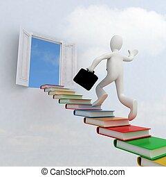 escalera que sube, conocimiento, éxito, hombre de negocios