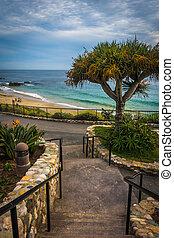 escalera, retraso, pacífico, parque, océano, heisler, vista