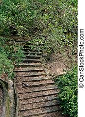 escalera, roca