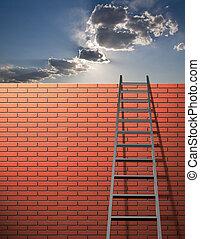 escalera, se inclina, en, pared, con, cielo