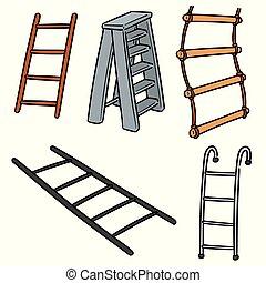 escalera, vector, conjunto