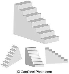 escalera, vector, diseño, su