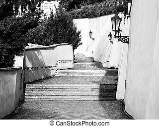 escalera, viejo, medieval, checo, vendimia, praga, praga, república, lámparas, castillo, escaleras, castle.