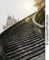 escalera, winter., palacio, sanssouci, potsdam, alemania