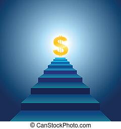 escaleras, éxito financiero