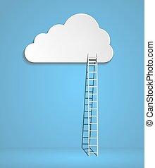 escaleras, azul, nubes