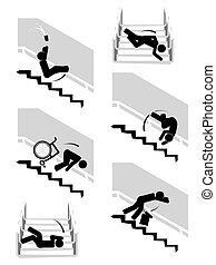escaleras down, conjunto, pictogram, caer