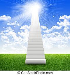 escaleras, en, cielo, con, hierba verde, nubes, y, sol