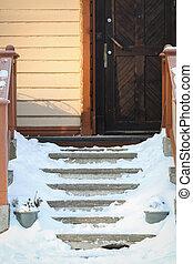 escaleras, invierno