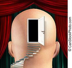 escaleras, plomo, arriba, a, puerta, a, mente