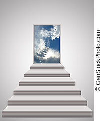 escaleras, primero, a, el, cielo