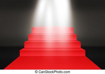 escaleras, rojo, fondo, alfombra