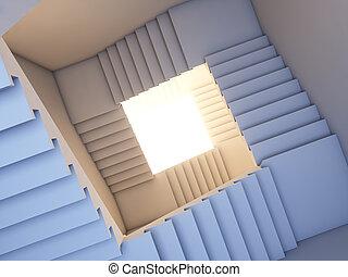 escalier, à, les, future.