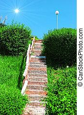 escalier, à, les, soleil