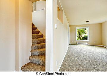 escalier, à, moquette, étapes, dans, vide, maison