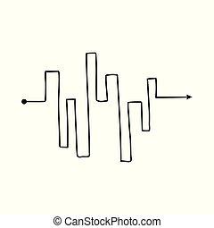 escalier, échelle, forme, compliqué, flèche, ligne