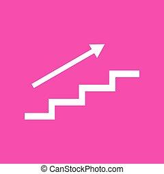 escalier, arrow., arrière-plan., blanc, magenta, icône